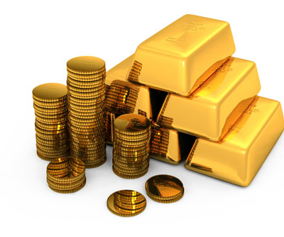 Gold bricks with coins