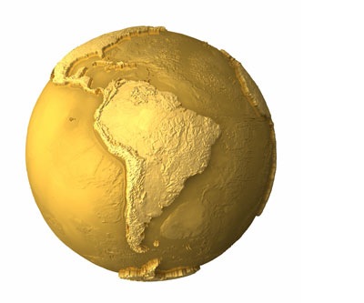 Gold-colored South America continent mining