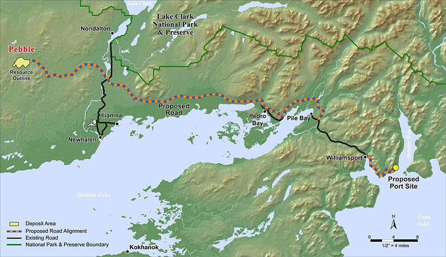 Pebble transportation corridor and port site location. Image from Northern Dynasty