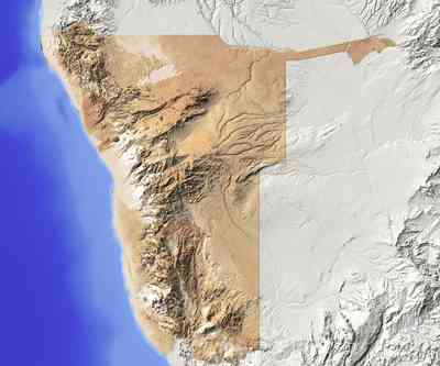 Namibia. Shaded relief map