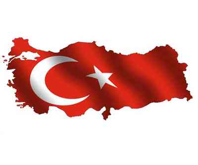 Map of turkey filled with its waving flag