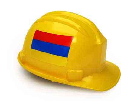 Armenian flag on construction helmet