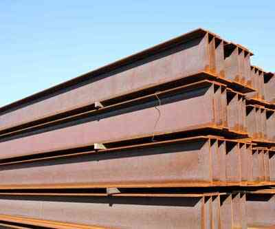 iron ore ibeams stacked mining