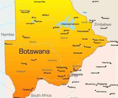 Abstract vector color map of Botswana country