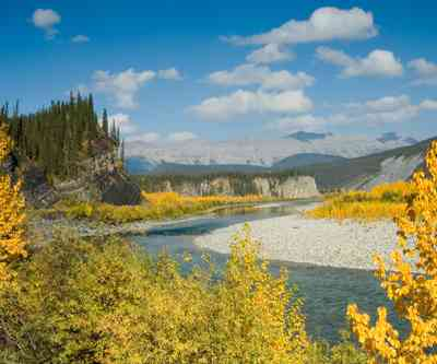 autumn in the canadian northwest territories along ogilvie river and mountains