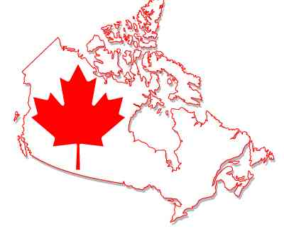 Outline of Canada with a red Maple leaf