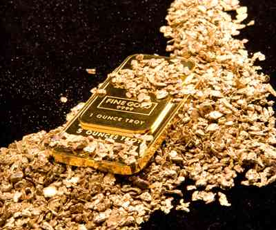 gold bar and flakes