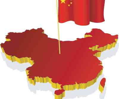 three-dimensional image map of China with the national flag