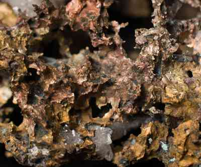 Unrefined copper ore with quartz crystals embedded