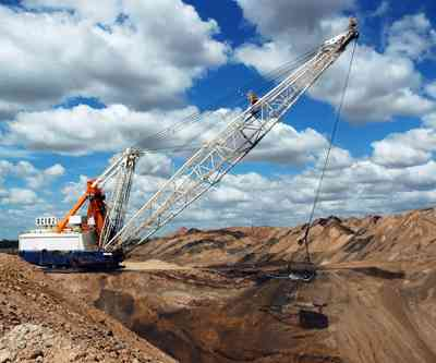 Dragline on the open pit coal mine, Queensland, Australia