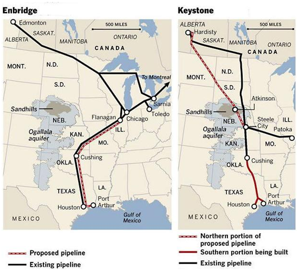 Comparison Of Enbridge And Keystone Proposed U S Pipeline System Expansions Source La Times