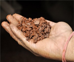 hand holding iron ore pluton resources