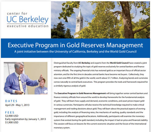 world gold council course for senior bankers