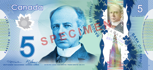 Canada new $5 bill front