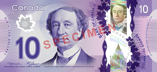 Canada new $10 bill front