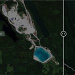 Before and after satellite photos of the Mount Polley tailings pond spill
