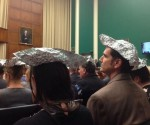 Polluter Watch wears tin hats to subcommittee hearing on climate chnage