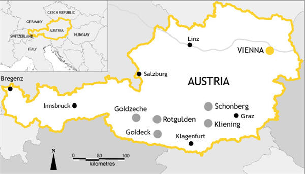 Noricum Gold assets in South-Central Austria