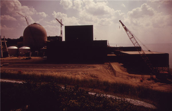 The Donald Cook Nuclear Power Plant is Still Under Construction. Lake Michigan at Bridgman