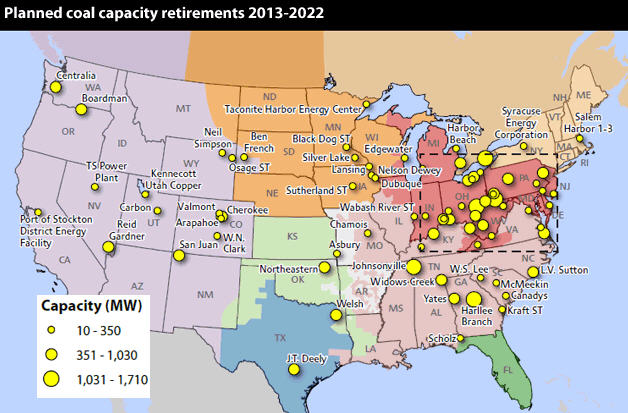 Planned coal cpacity retirements, SNL Financial