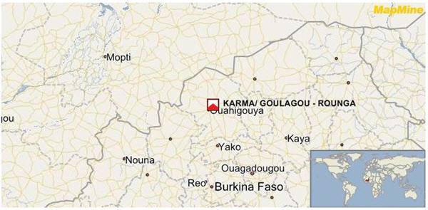 The Karma project comprising of six contiguous permits of Kao, Goulagou I and II, Youba, Tougou, Rambo, and Rounga, covering an area of 856.35 sq km located in the north-central region of Burkina Faso.