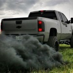 Trucks modified to spew exhaust, make political statement