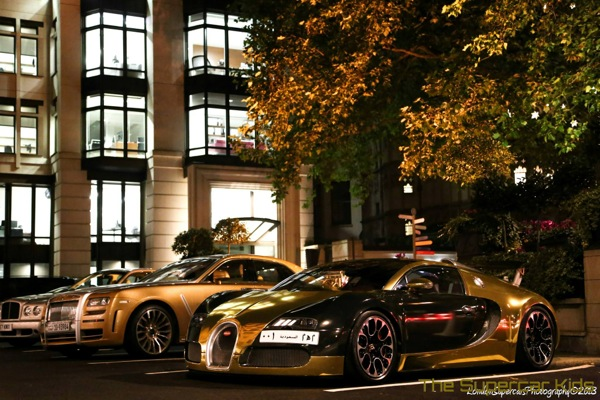 Gold Arab supercar hits the streets of London