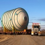 Heavy equipment on the move to potash mine in Canada