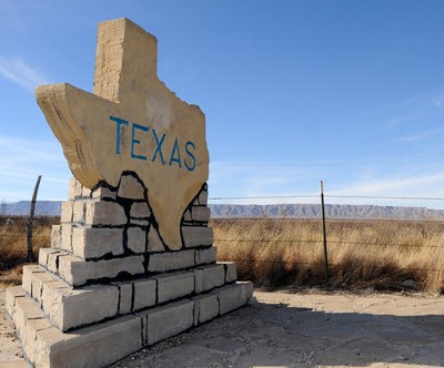 Texas sign, oil drilling, Permian Basin