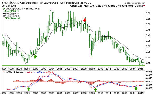 Gold sector,  big picture HUI Gold Graph