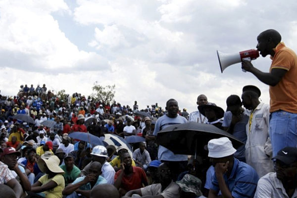Striking South African miners. (Image from archives)