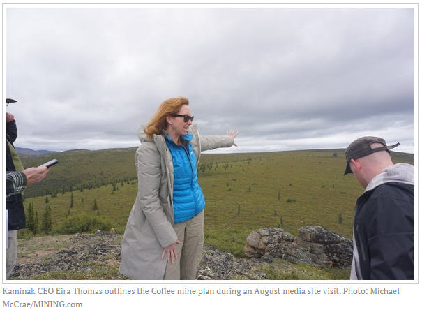 Kaminak ups ounces at Coffee gold project in Yukon - CEO Eira Thomas