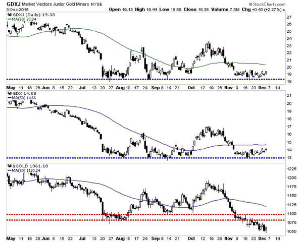 Relative strenth in gold stocks portends to rebound - GDXJ Market Vectors Junior Gold Miners Graph