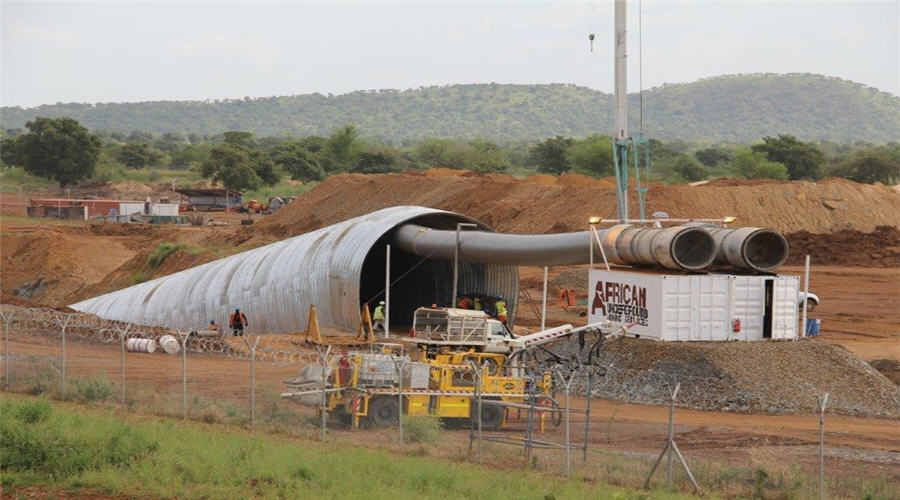 Construction of underground tunnel at Yaramoke Mine 1