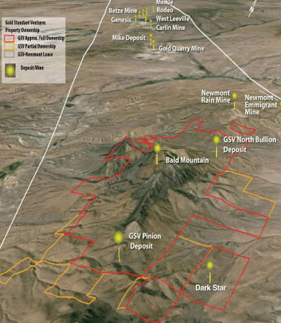 Gold standard ventures Property ownership in Carlin Trend, Nevada map