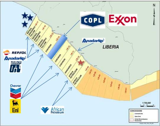 Canadian Overseas Petroleum Block 13 Offshore Liberia and Nearby Holdings