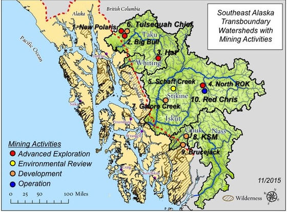 New Analysis- Ignoring best practices, Southeast Alaska Transboundary watersheds with mining activities
