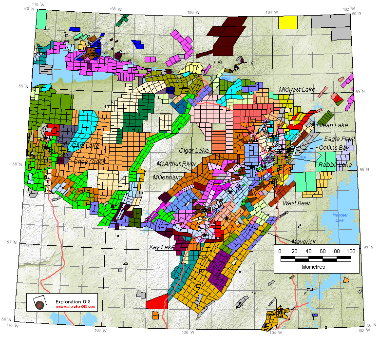 Map of exploration claims and permits in Northern Saskatchewan, as of January 2016. Source: Exploration GIS.