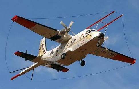 Airborne magnetic survey aircraft. Source: Saskatchewan Ministry of the Economy.