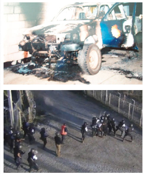 Image: HudBay riot damage (top) and an image recorded by a security camera on April 27, 2013 showing security personnel confronting protesters at Tahoe Resources Inc.'s Escobal silver mine in Guatemala I Submitted
