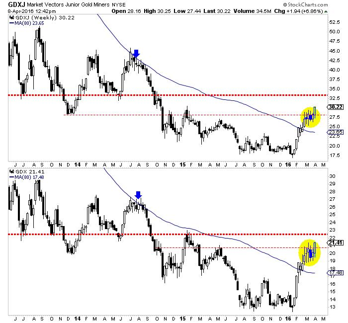 Gold stocks breakout, gold to follow - GDXJ Market Vectors Junio Gold Miners graph