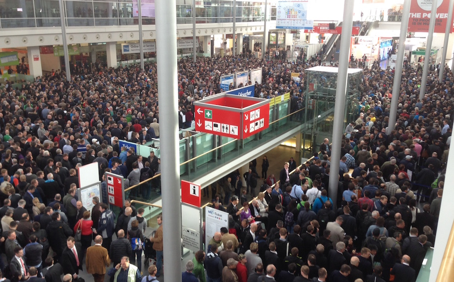 Crowds at the opening of Bauma 2016 in Munich.