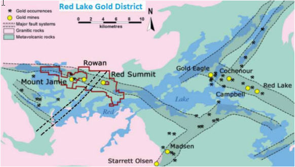 Getting a hearbeat on British Columbia miners - Red Lake Gold District map