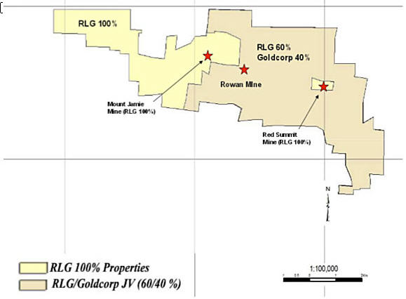 Goldcorp is back and spending - RLG properties map
