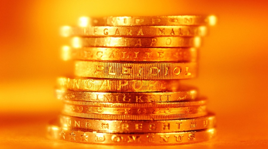 gold coins stacked 900
