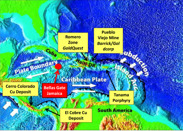 Jamaica, part of a prolific regional plate subduction zone