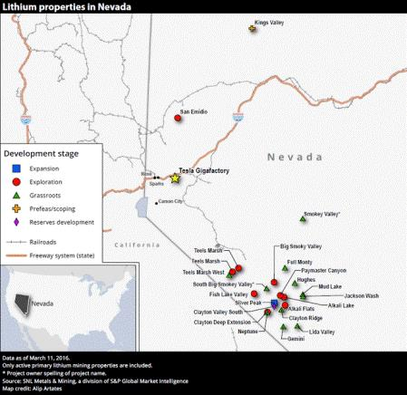 Why lithium will see another price spike this fall -map - lithium properties in Nevada