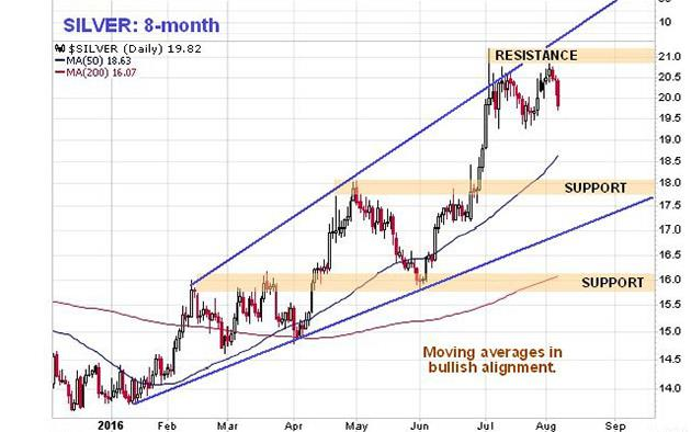 Signs are silver bull market is consolidating - silver 8-month graph