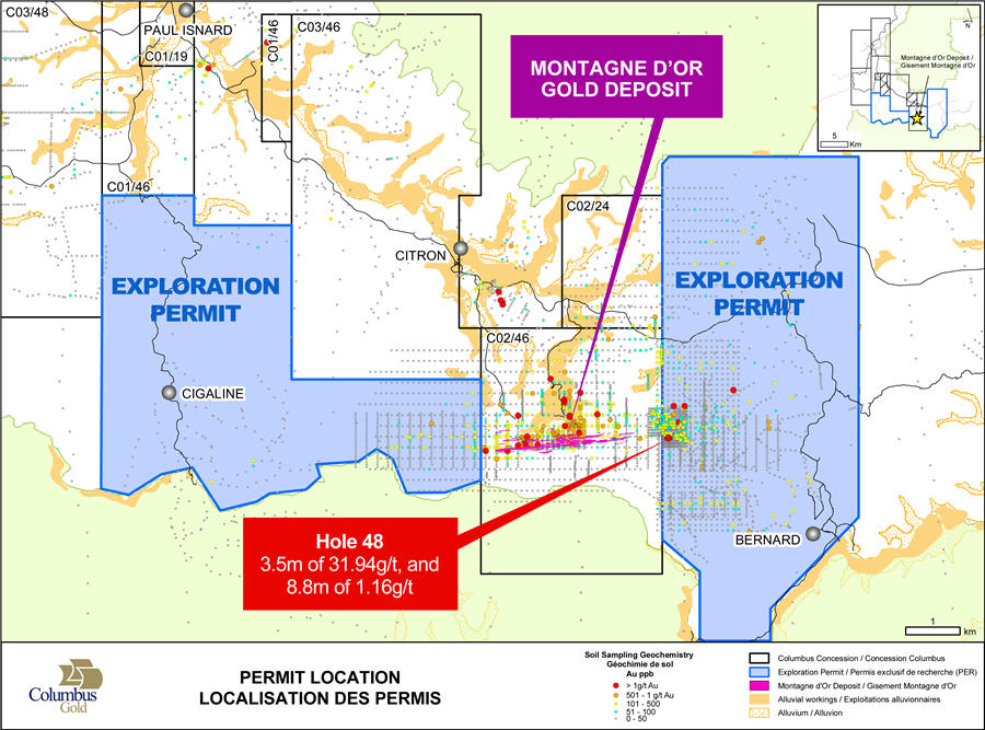 Exploration permits on strike of the east and west extensions of Montagne d'Or