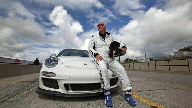 Gerald Panneton with his Porsche GT3 RS on the track at Mosport. (FRED THORNHILL for The Globe and Mail)